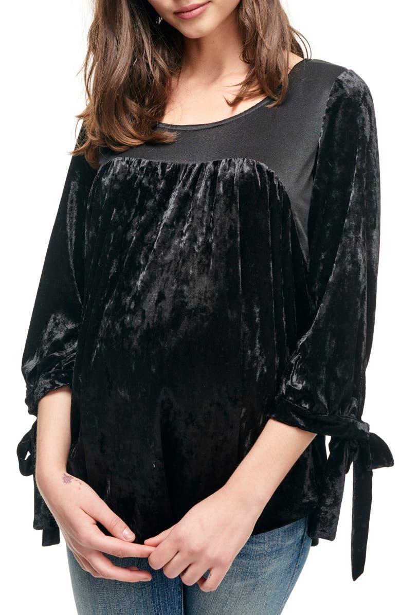 MATERNAL AMERICA Velvet Babydoll Maternity Top, Main, color, VELVET BLACK