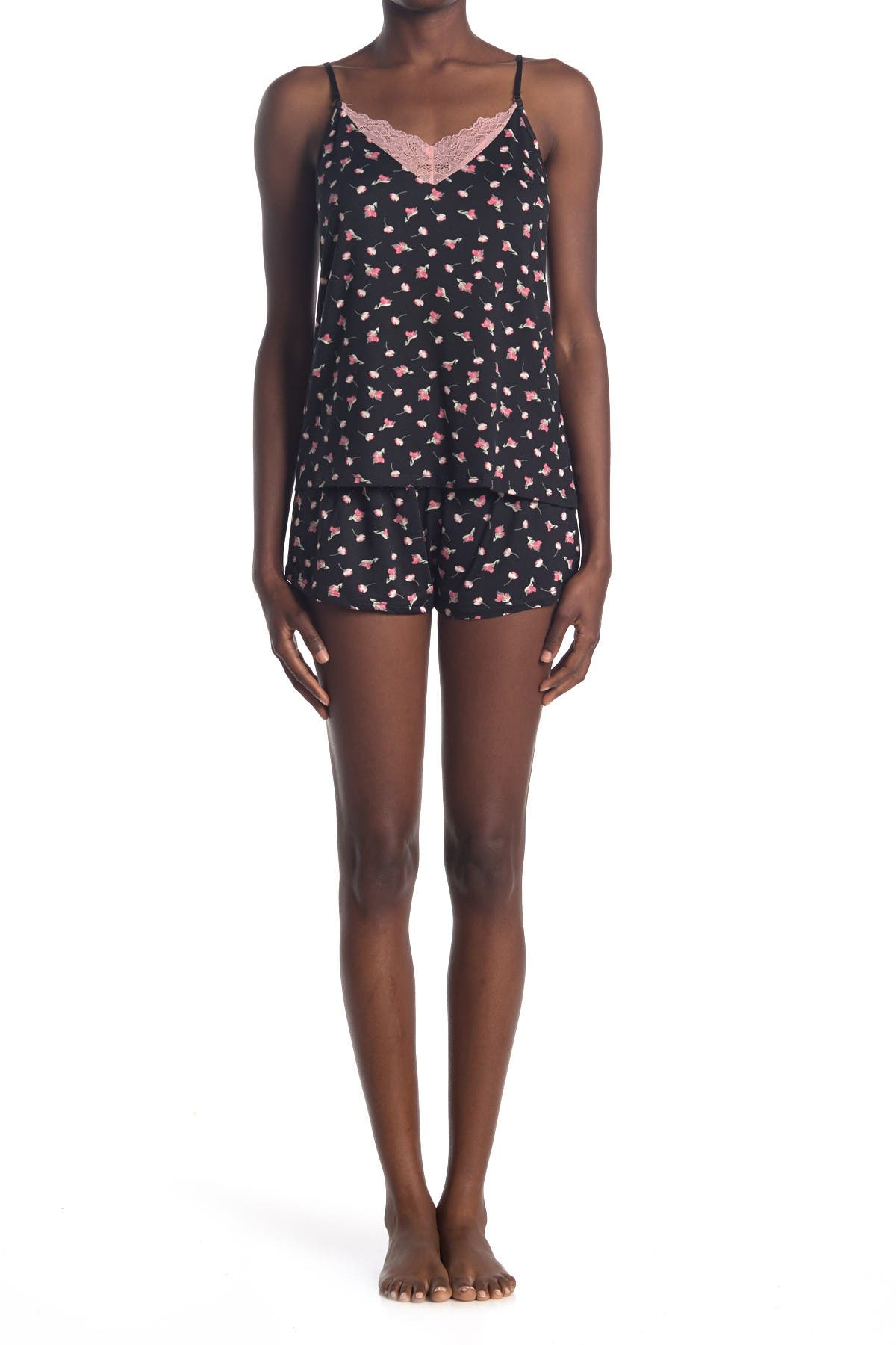 Image of Flora by Flora Nikrooz Dalphene Floral Robe, Camisole & Shorts Jersey 3-Piece Pajama Set