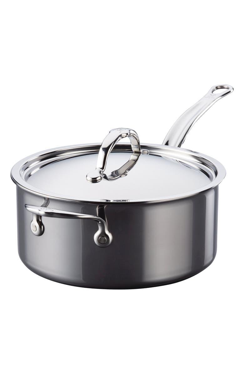 HESTAN 4-Quart Helper Handle Saucepan with Lid, Main, color, STAINLESS STEEL