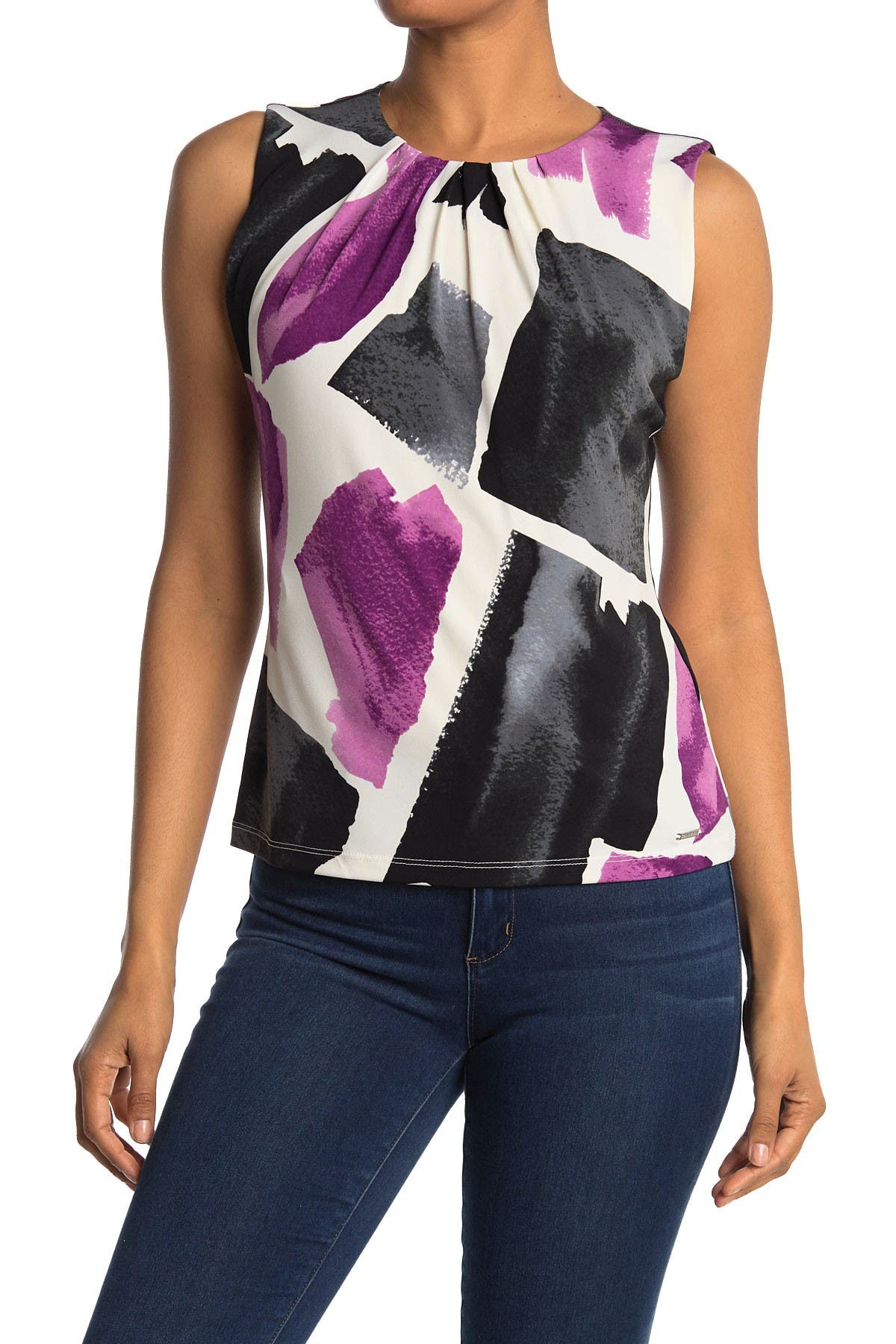 Image of Calvin Klein Sleeveless Printed Blouse