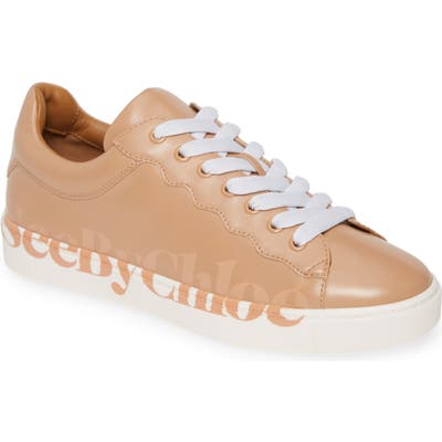 See By Chloe Essie Logo Low Top Sneaker, Beige
