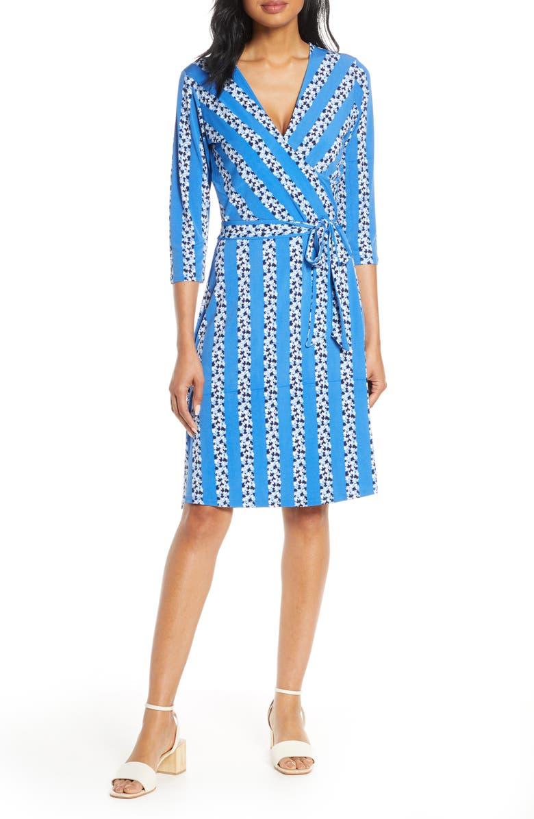 LEOTA Print Jersey Faux Wrap Dress, Main, color, BLUEBELL FLORAL STRIPE