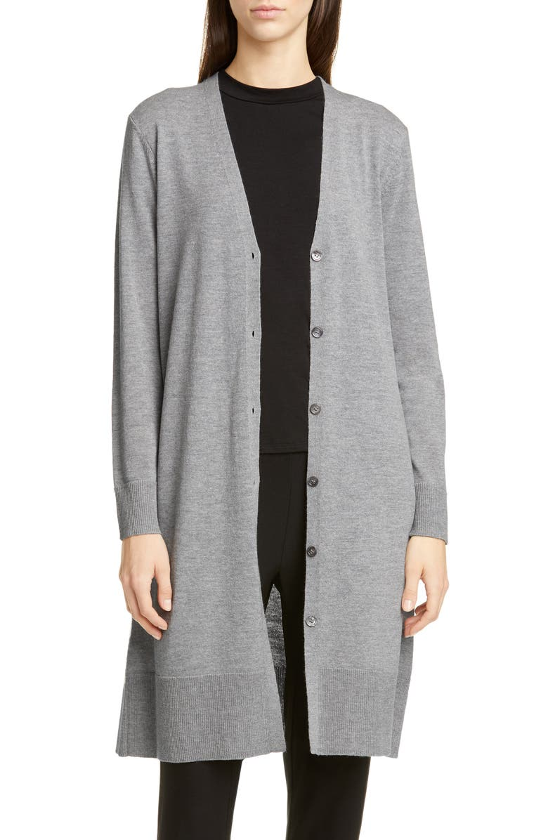 EILEEN FISHER Long Wool Cardigan, Main, color, PEWTER