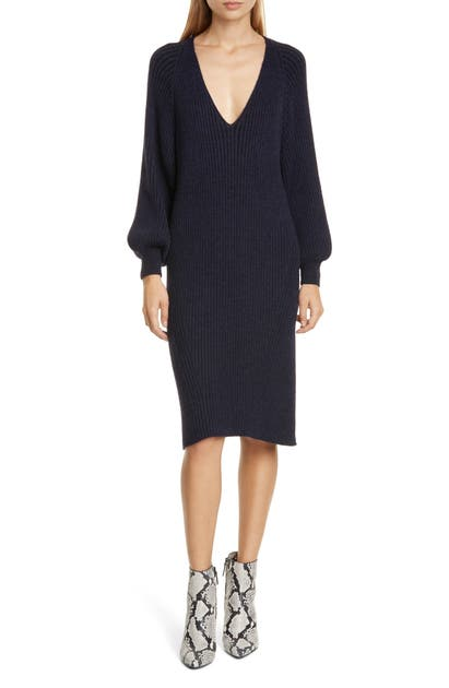 Eleven Six Ines Long Sleeve Alpaca Blend Sweater Dress In Navy Black Combo