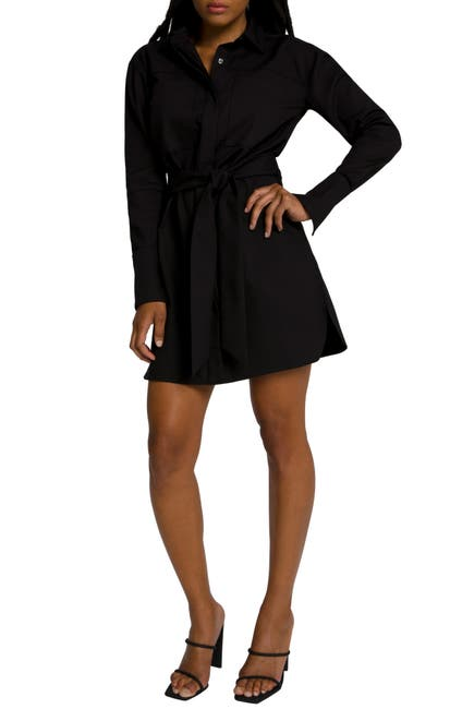 Image of Good American Committed to Fit Long Sleeve Shirtdress