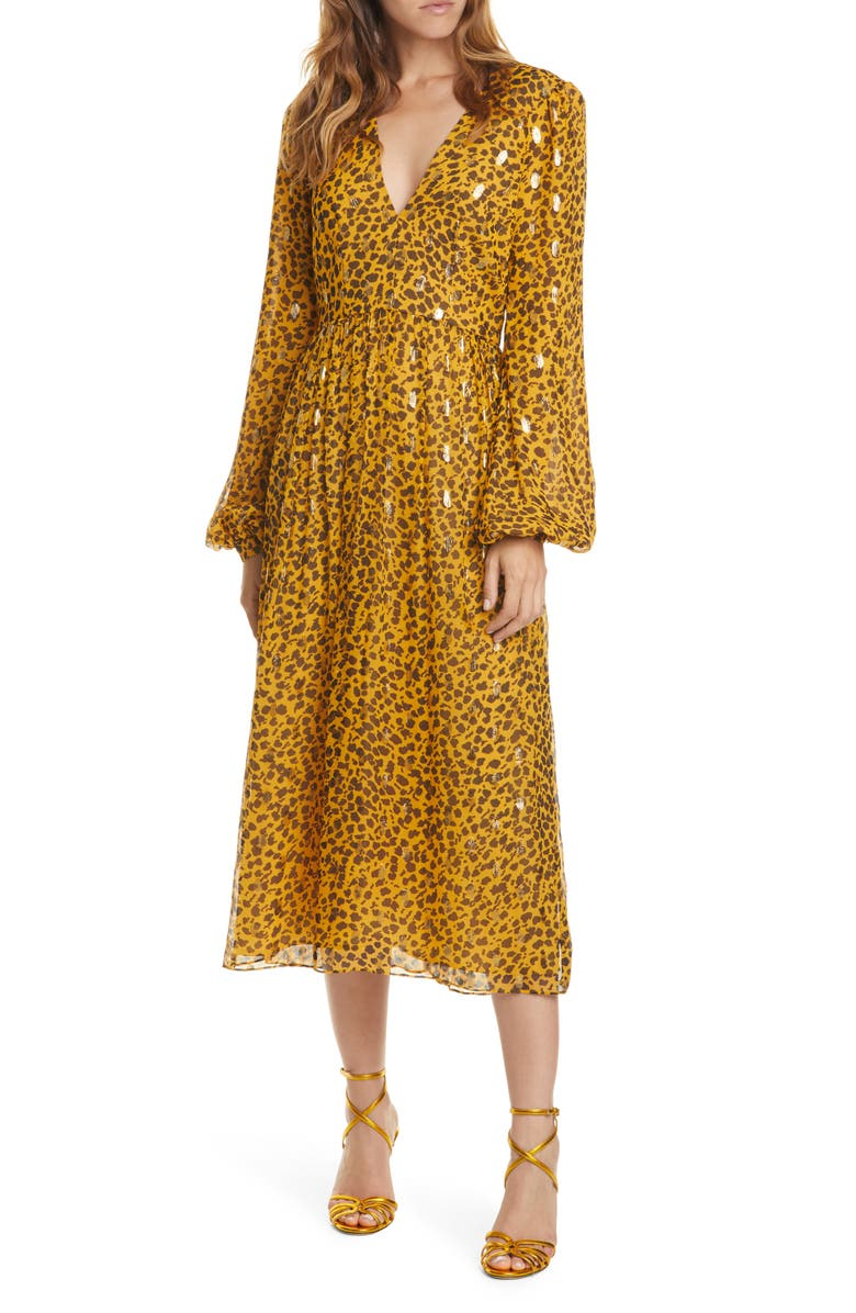 SALONI Camille Sequin Midi Dress, Main, color, GOLD CAMO LEOPARD