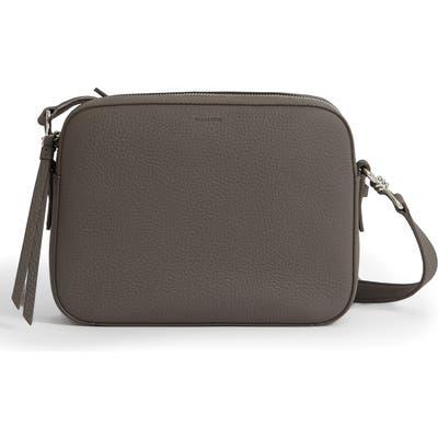 Allsaints Captain Square Leather Crossbody Bag - Grey