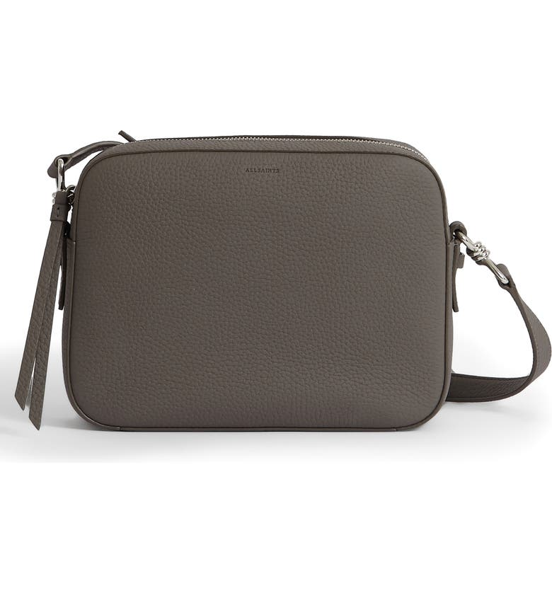 ALLSAINTS Captain Square Leather Crossbody Bag, Main, color, STORM GREY