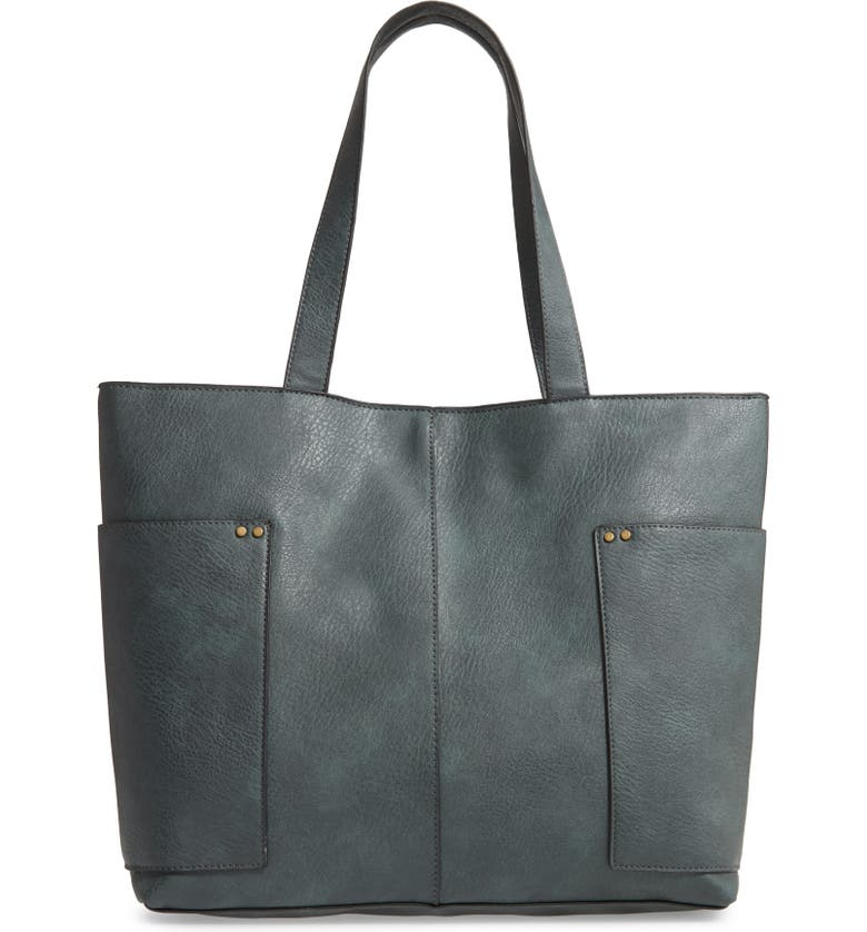 BP. Studded Faux Leather Tote, Main, color, GREY URBAN