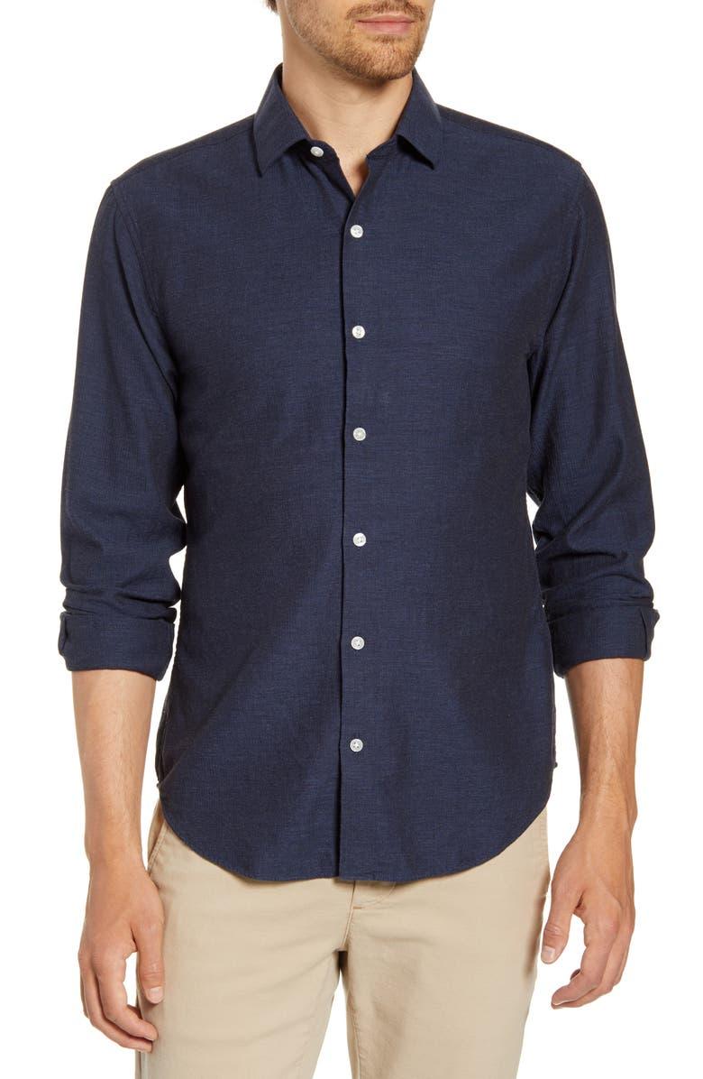 BONOBOS Unbutton Down Slim Fit Sport Shirt, Main, color, MIDNIGHT HEATHER