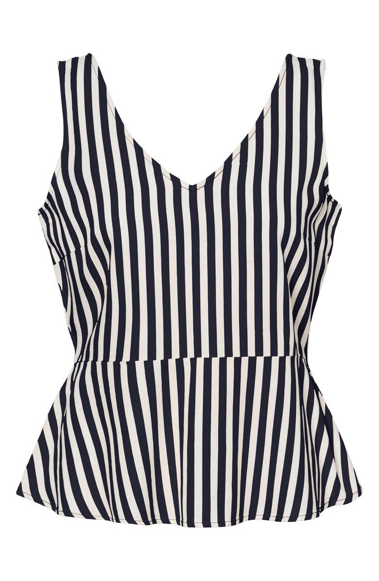 VERO MODA Helenmilo Stripe Linen Blend Sleeveless Top, Main, color, NIGHT SKY STRIPE