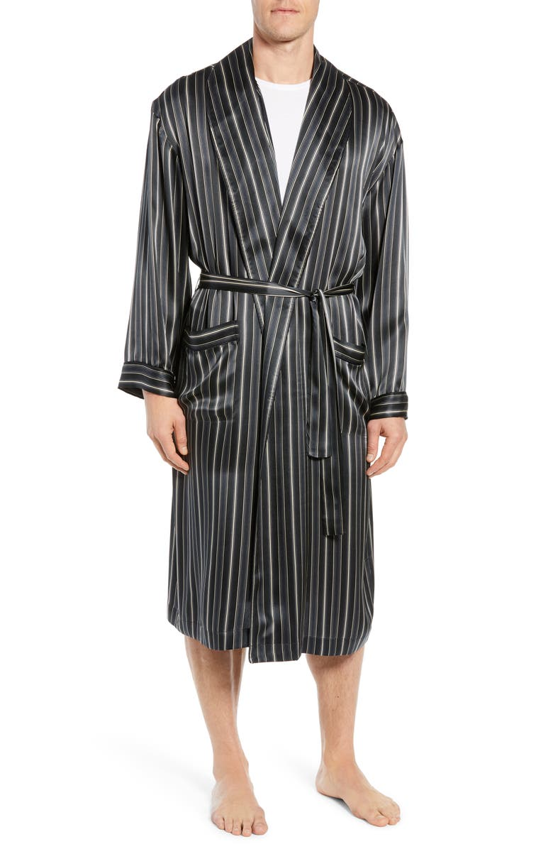 MAJESTIC INTERNATIONAL Fresh Ink Stripe Silk Robe, Main, color, FOG