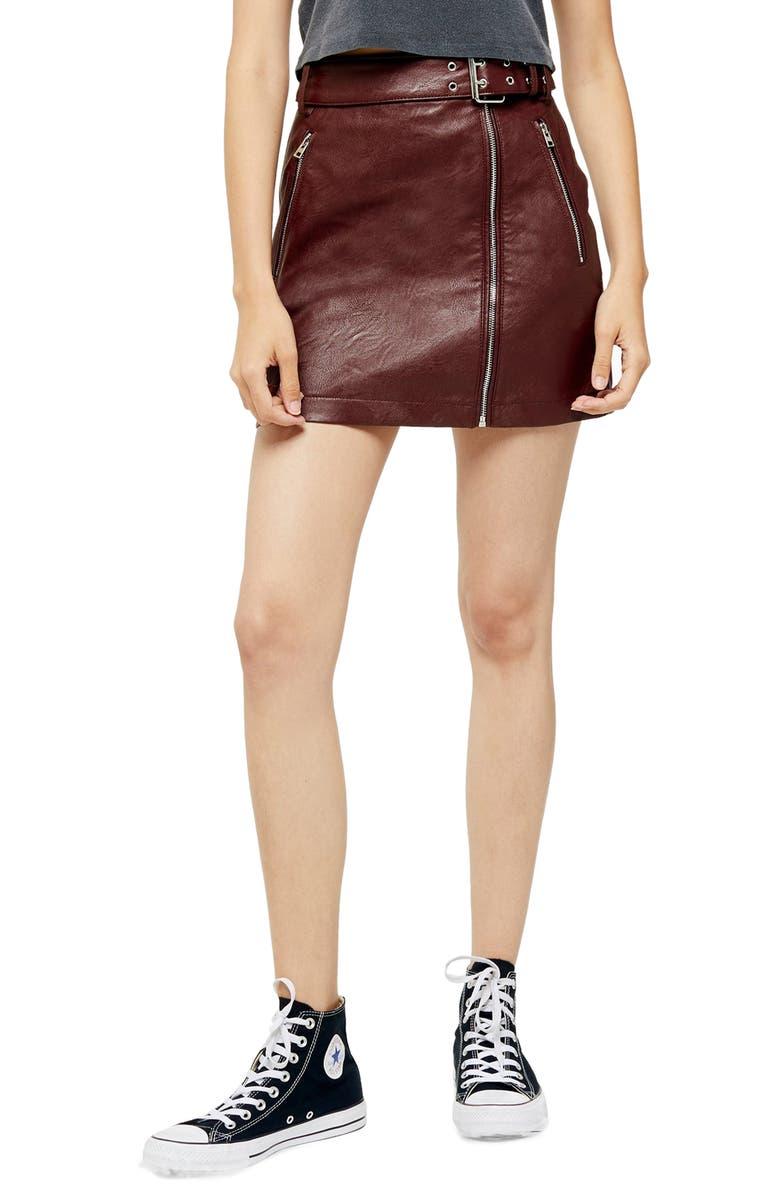 TOPSHOP Hardware Faux Leather Miniskirt, Main, color, BURGUNDY