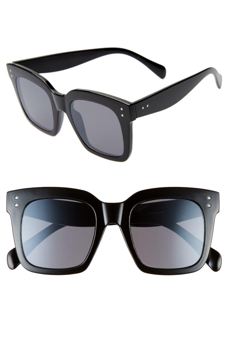 BP. 49mm Square Sunglasses, Main, color, BLACK