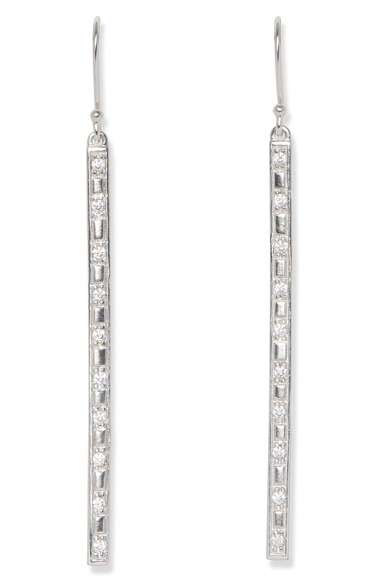 SOLE SOCIETY Linear Drop Earrings, Main, color, SOFT POLISHED RHODIUM/ CRYSTAL