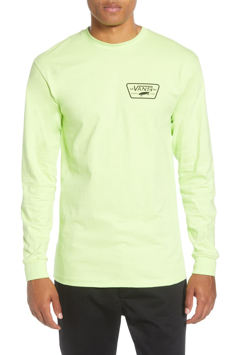 VANS Full Patch Back Long Sleeve T-Shirt, Main, color, SHARP GREEN/ BLACK