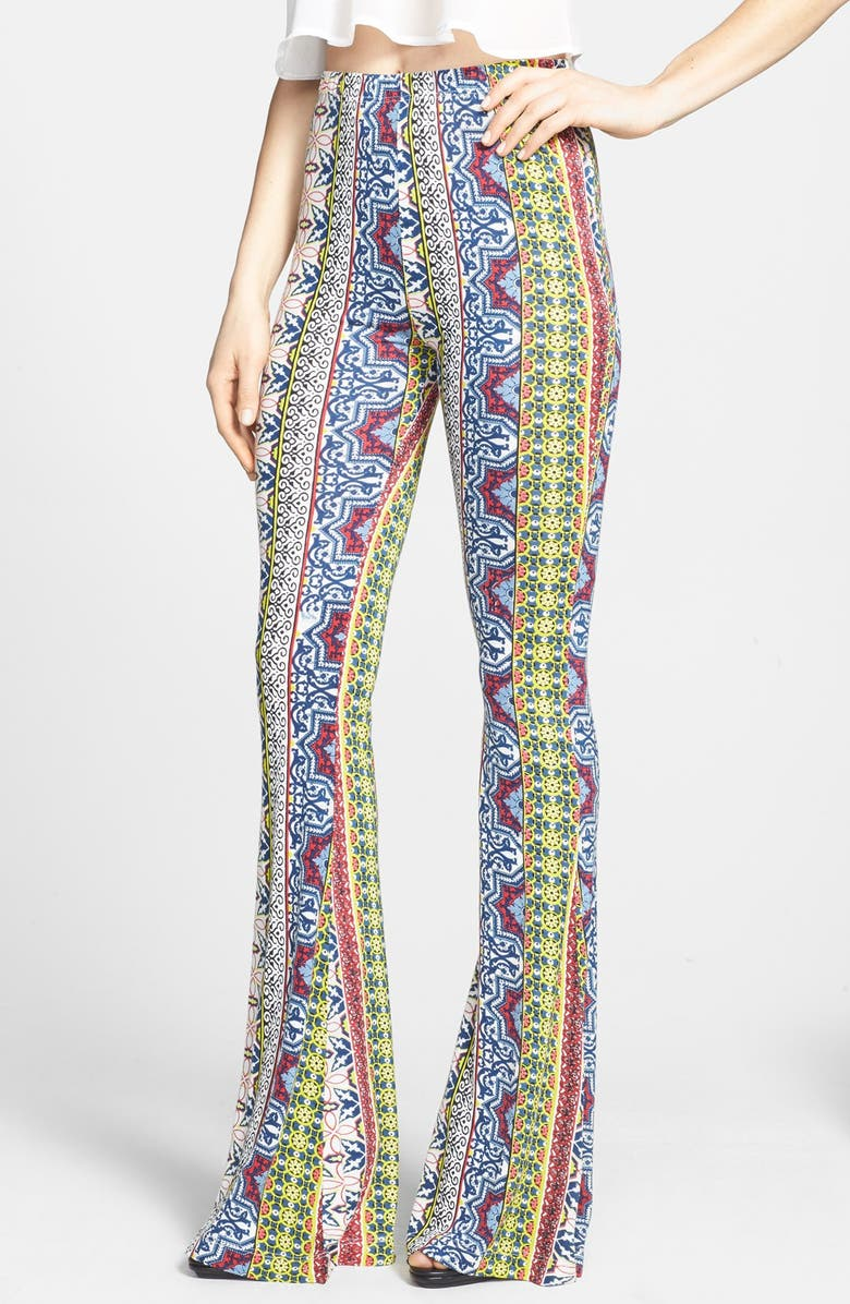 RAGA Print High Rise Bell Bottom Pants, Main, color, 700