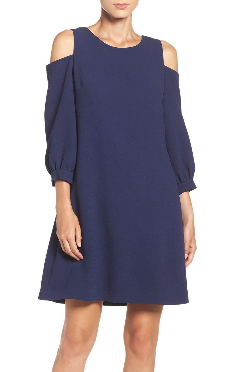 ELIZA J Cold Shoulder Crepe Trapeze Dress, Main, color, 410