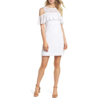 Lilly Pulitzer Lyra Cold Shoulder Lace Dress, White