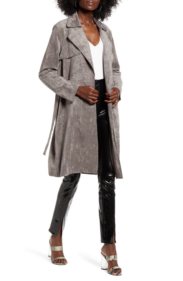BLANKNYC Faux Suede Trench Coat, Main, color, SKULL MOUNTAIN