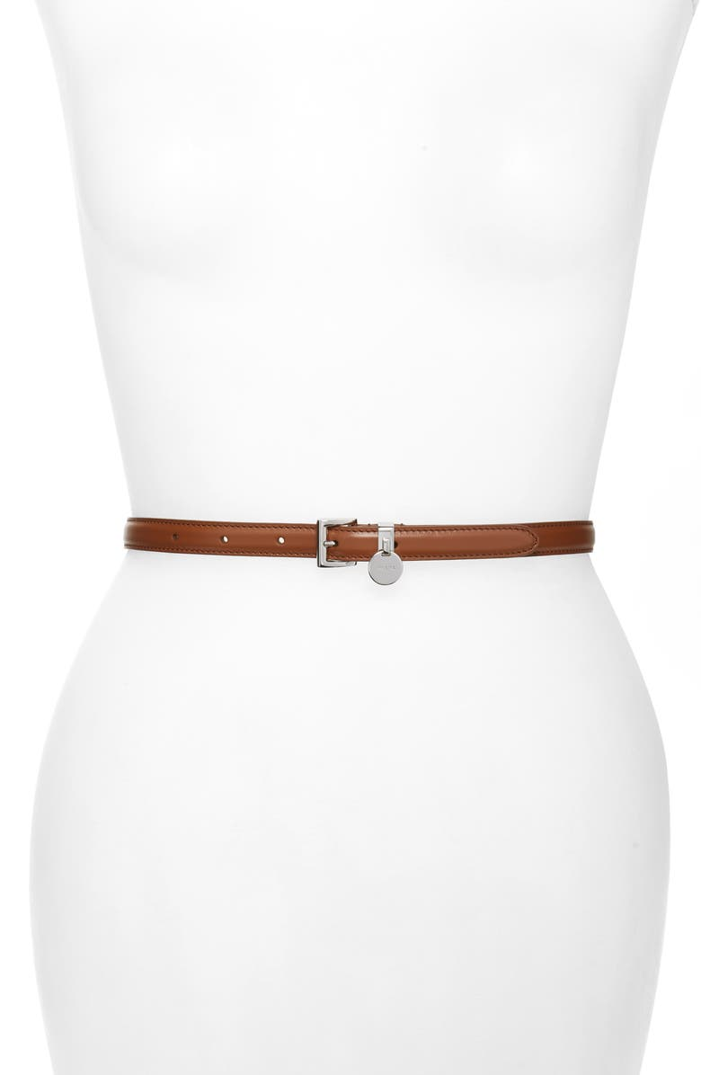PRADA City Skinny Leather Belt with Logo Charm, Main, color, COGNAC