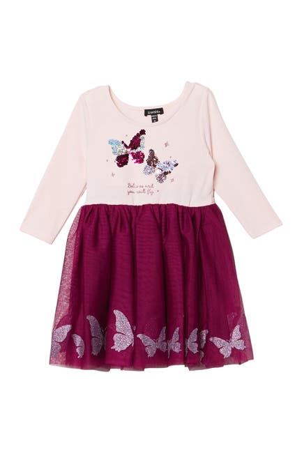 Image of Zunie Butterfly 3/4 Sleeve Glitter Print Skirt Dress