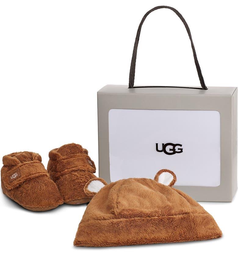 UGG<SUP>®</SUP> Bixbee Faux Fur Beanie & Booties Set, Main, color, CHESTNUT