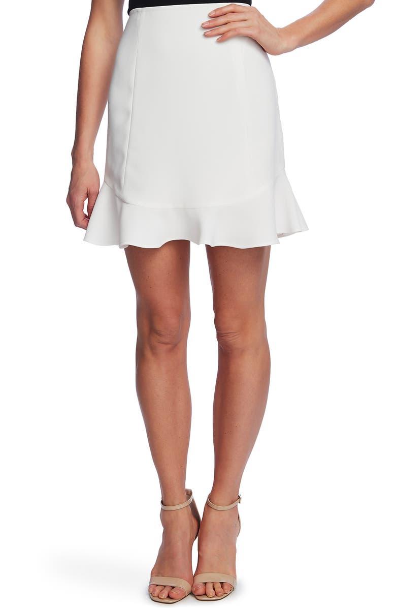 CECE Flutter Hem Moss Crepe Skirt, Main, color, SOFT ECRU