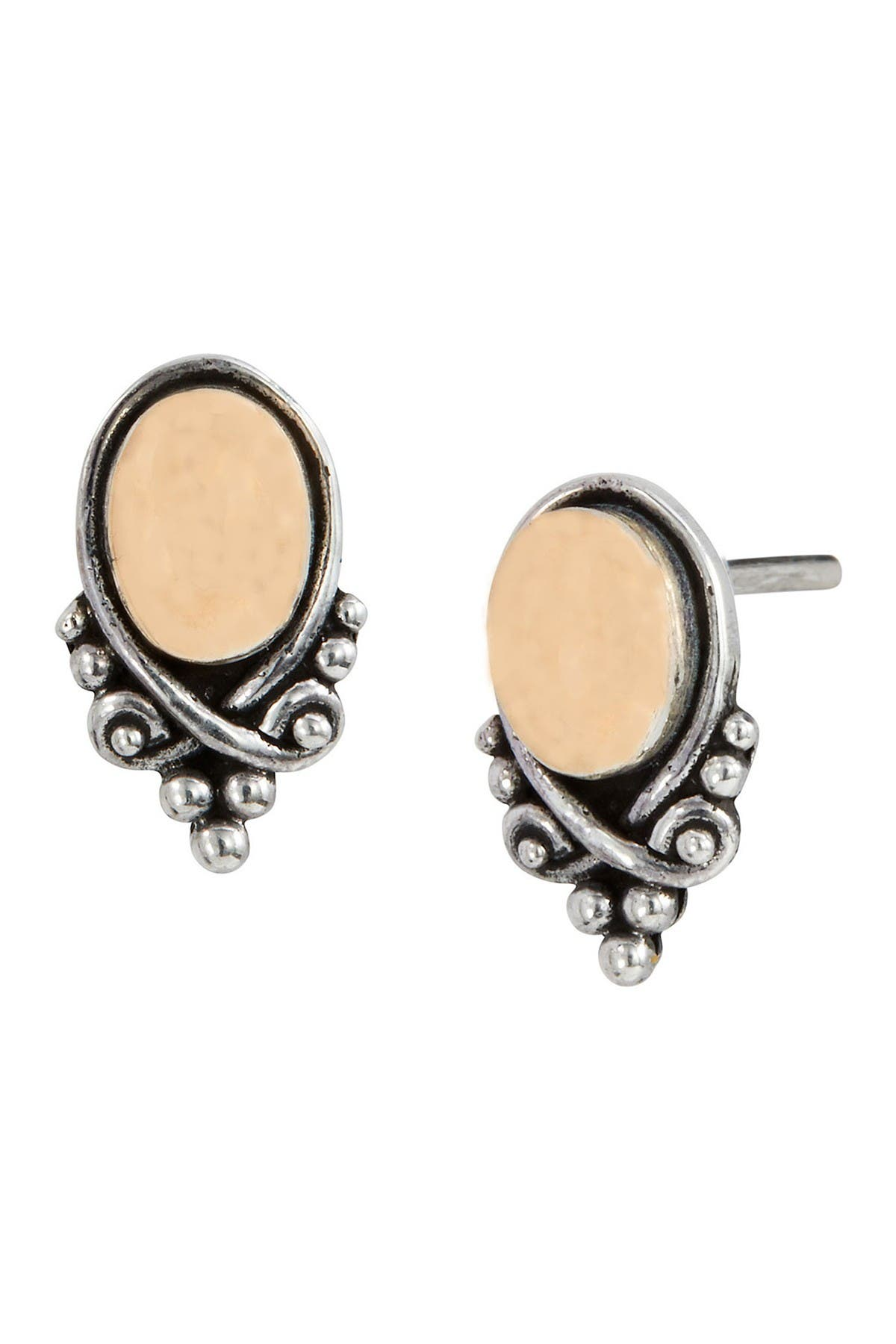 Image of Savvy Cie Two-Tone 18K Gold & Sterling Silver Oval Stud Earrings
