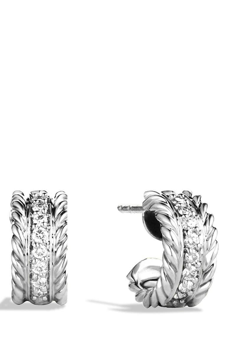 DAVID YURMAN 'Cable Classics' Extra-Small Earrings with Diamonds, Main, color, DIAMOND