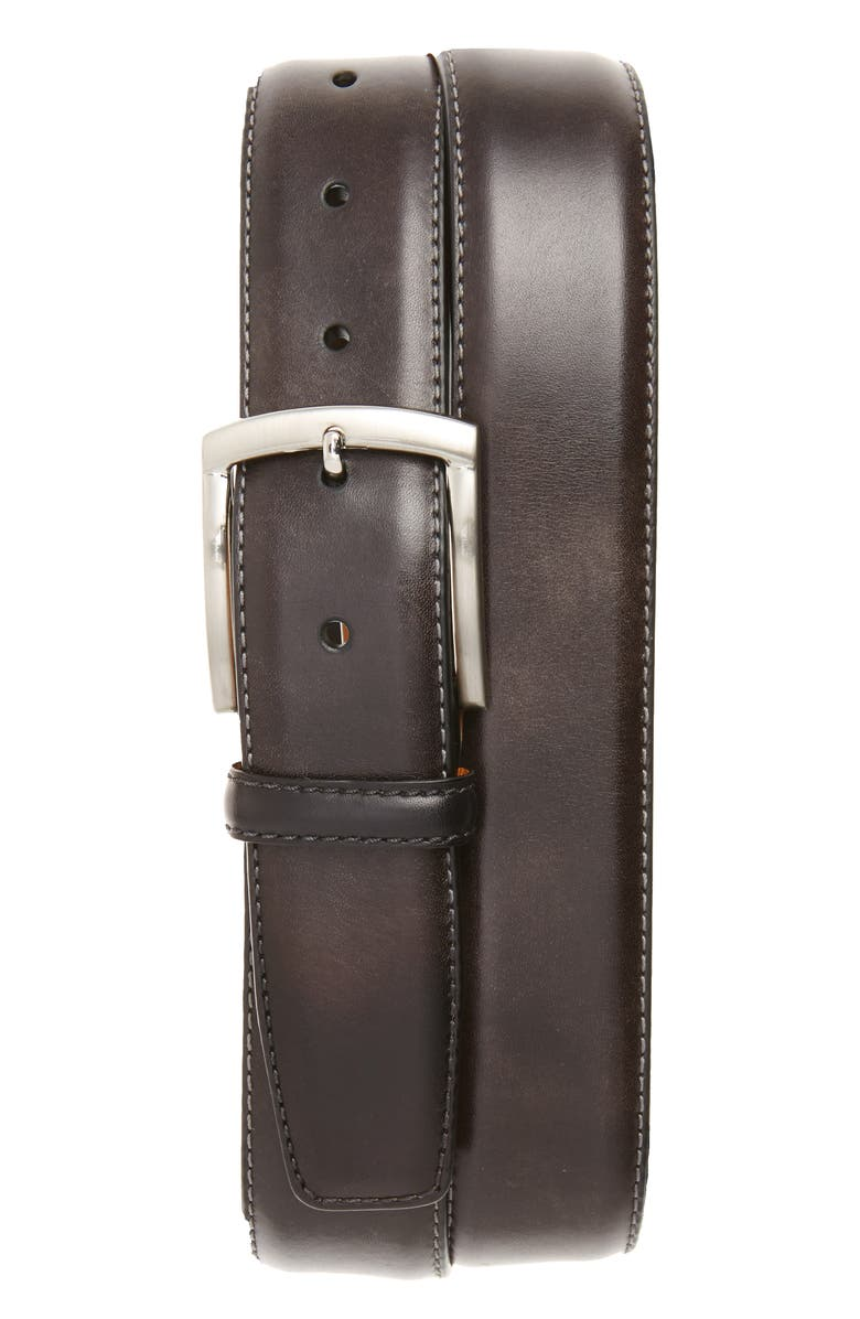 MAGNANNI Tanner Leather Belt, Main, color, GREY