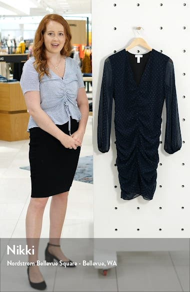 Clip Dot Long Sleeve Shirred Minidress, sales video thumbnail