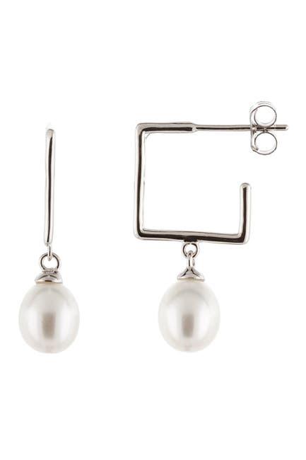 Image of Splendid Pearls Square Hoop & Dangling 7.5-8mm Cultured Freshwater Pearl Earrings