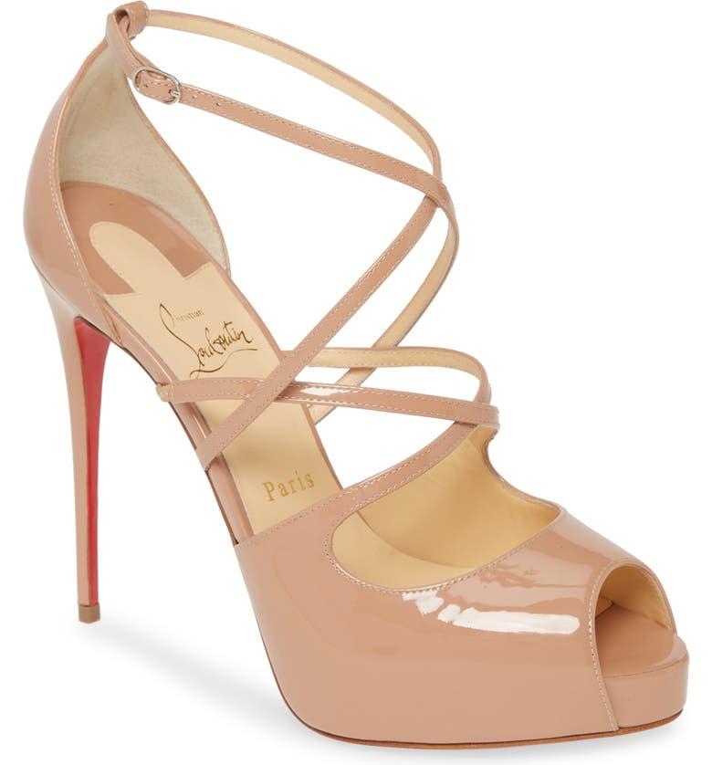 CHRISTIAN LOUBOUTIN Holly Alta Peep Toe Platform Sandal, Main, color, NUDE PATENT