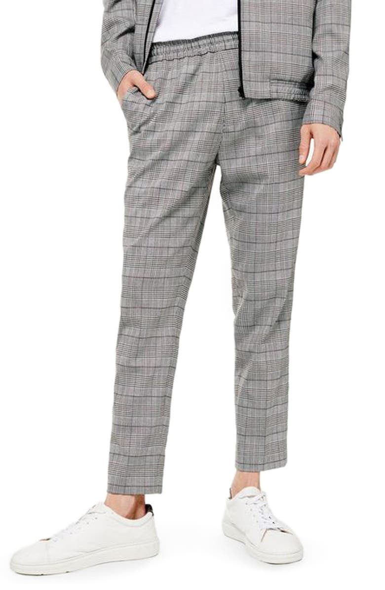 TOPMAN Glen Plaid Dress Pants, Main, color, GREY MULTI