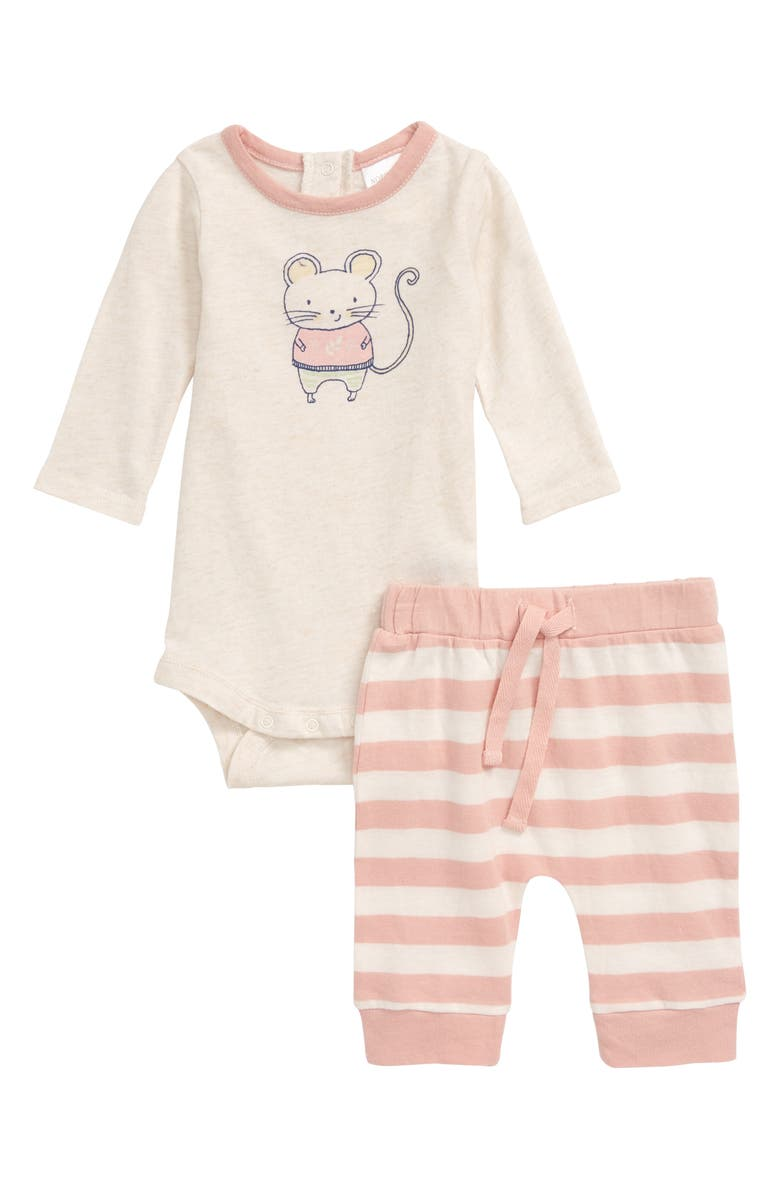 NORDSTROM BABY Mouse Graphic Bodysuit & Stripe Leggings Set, Main, color, IVORY VANILLA HEATHER MOUSE