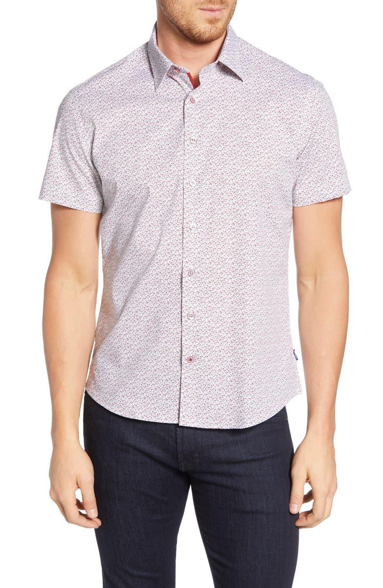 STONE ROSE Wine Geo Regular Fit Shirt, Main, color, 100