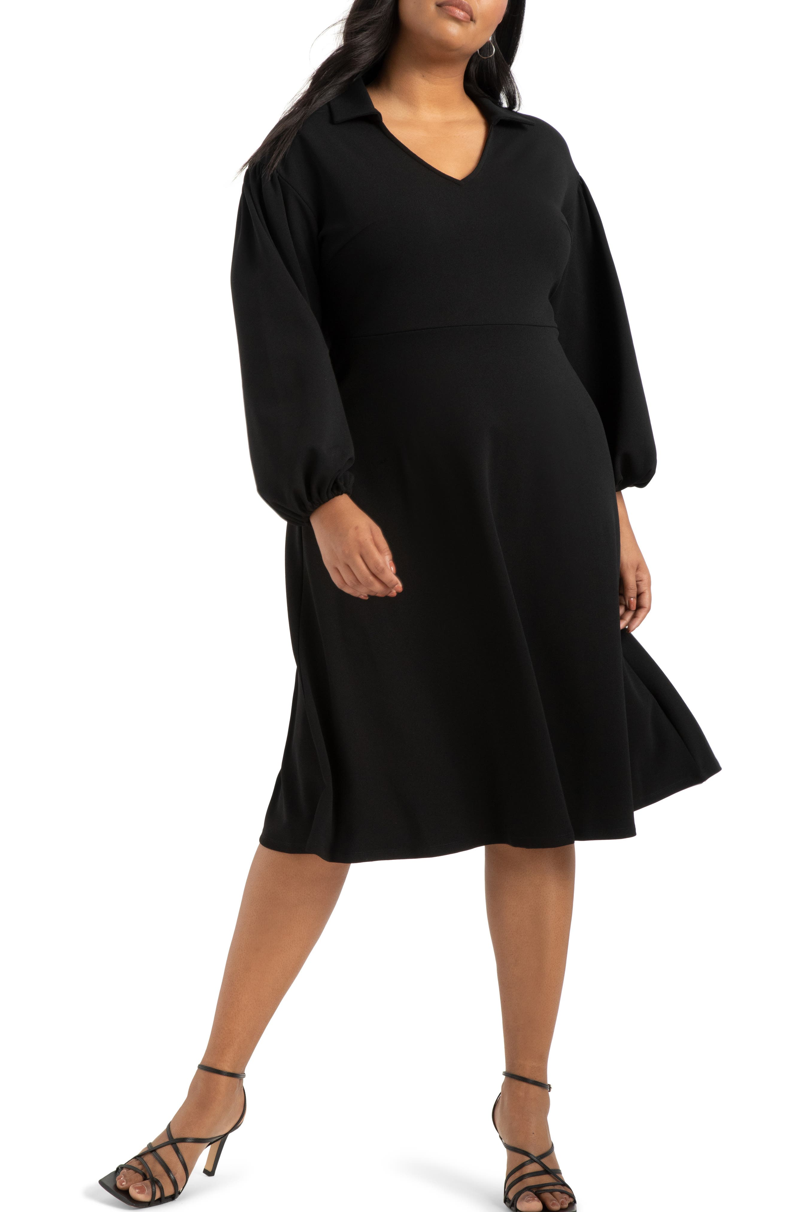 70s Prom, Formal, Evening, Party Dresses Plus Size Womens Eloquii Drop Shoulder Fit  Flare Midi Dress Size 14W - Black $99.95 AT vintagedancer.com