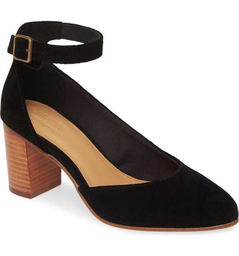 SOLUDOS Gemma Ankle Strap Pump, Main, color, BLACK