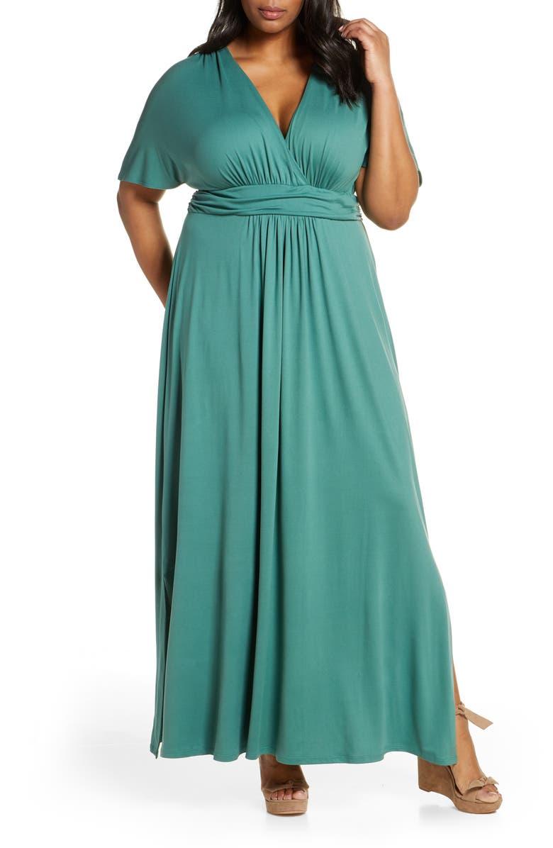 KIYONNA Vienna V-Neck Maxi Dress, Main, color, MATCHA GREEN TEA