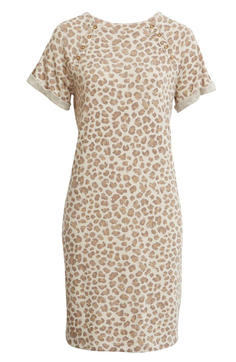 CASLON<SUP>®</SUP> Button Detail T-Shirt Dress, Main, color, BEIGE OYSTER LEOPARD DISTRESS