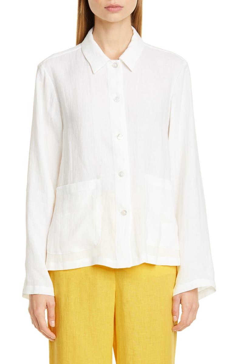 MANSUR GAVRIEL Linen Worker Shirt, Main, color, 110