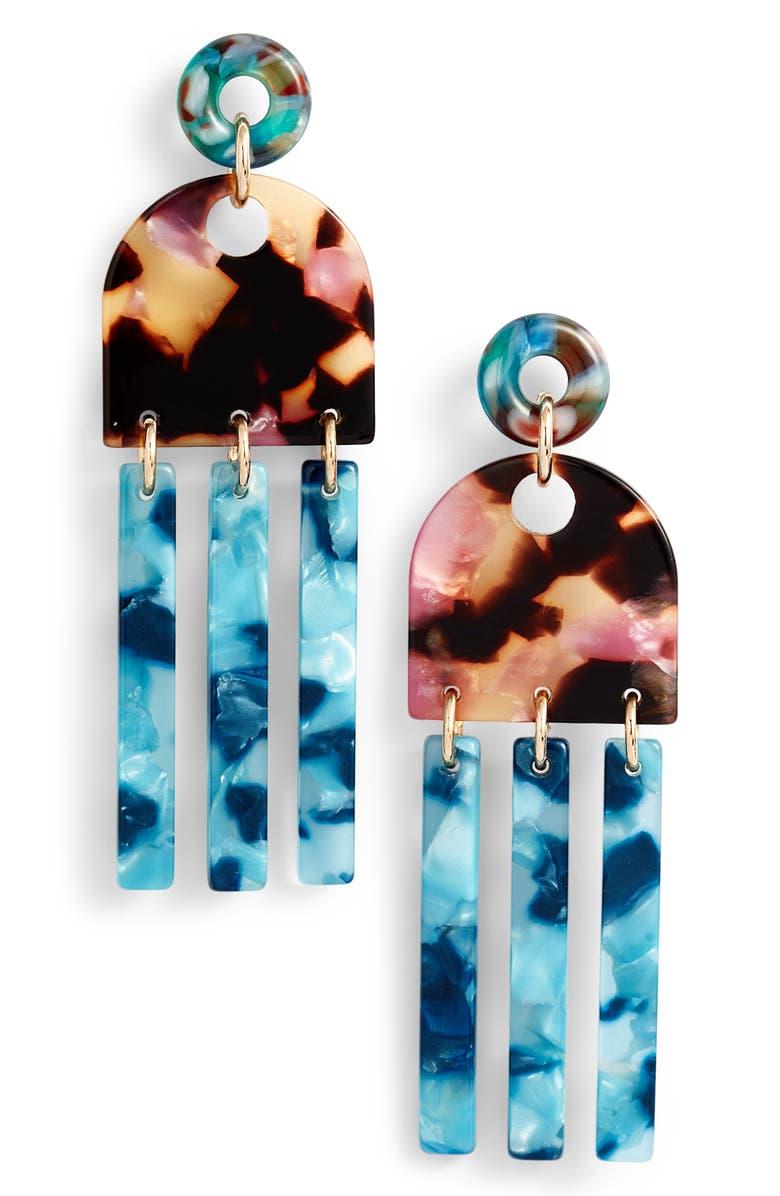 LELE SADOUGHI Empire Fringe Drop Earrings, Main, color, TEAL