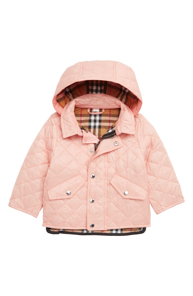 BURBERRY Ilana Quilted Water Repellent Jacket, Main, color, VINTAGE ROSE