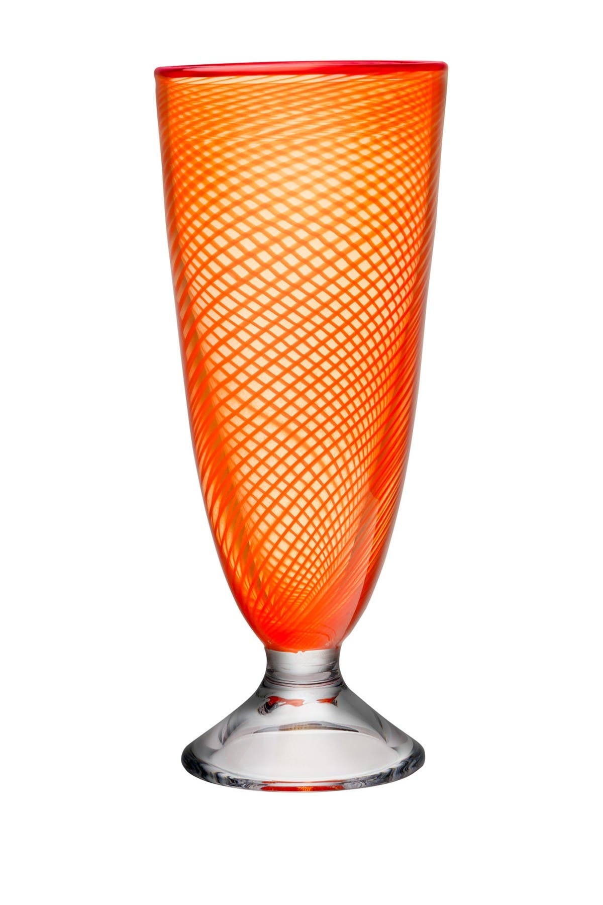 """Image of Kosta Boda Orange Footed Vase with A Red Rim, 10.5""""H"""
