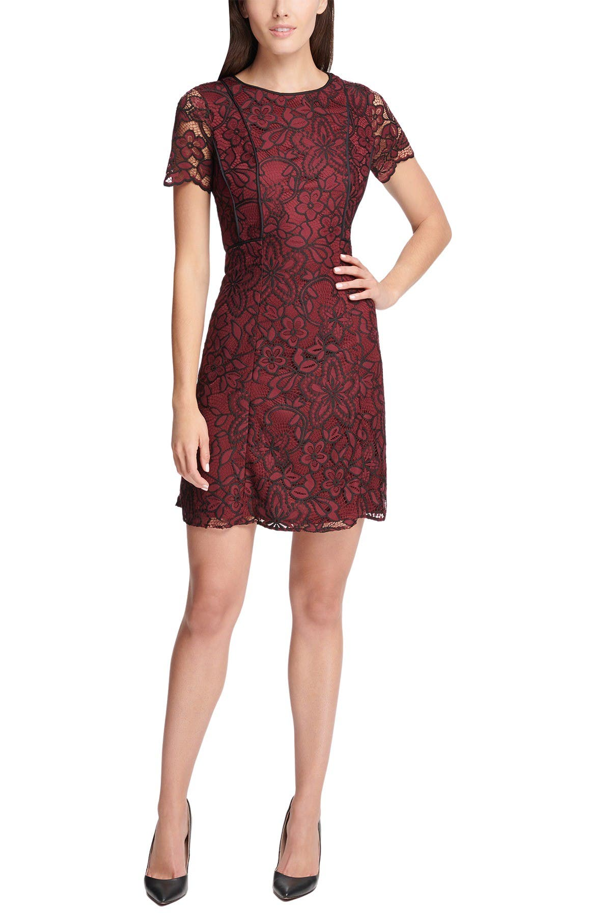 Image of Kensie Floral Crochet Lace Sheath Dress
