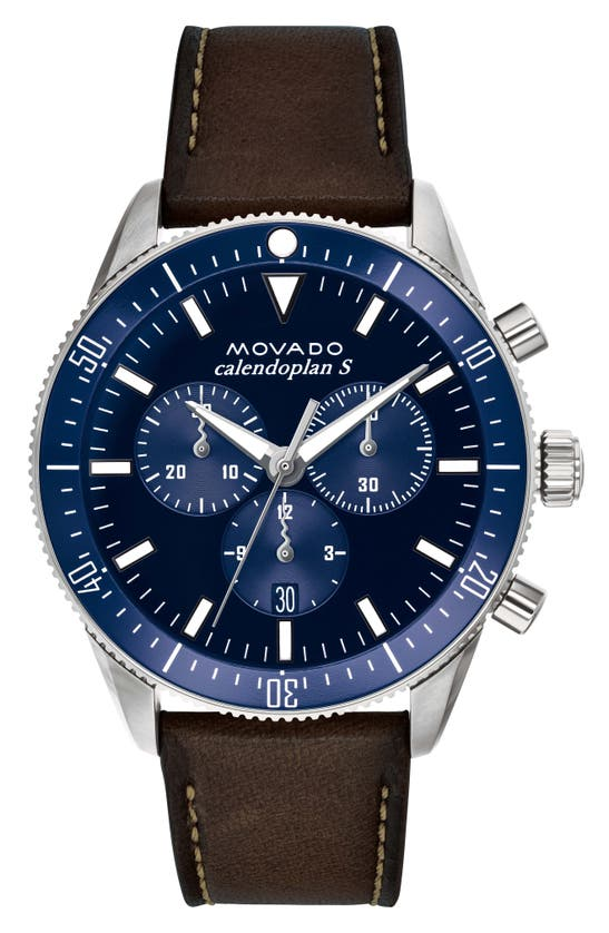 Movado Heritage Chrono Leather Strap Watch, 42mm In Cognac/ Blue/ Silver