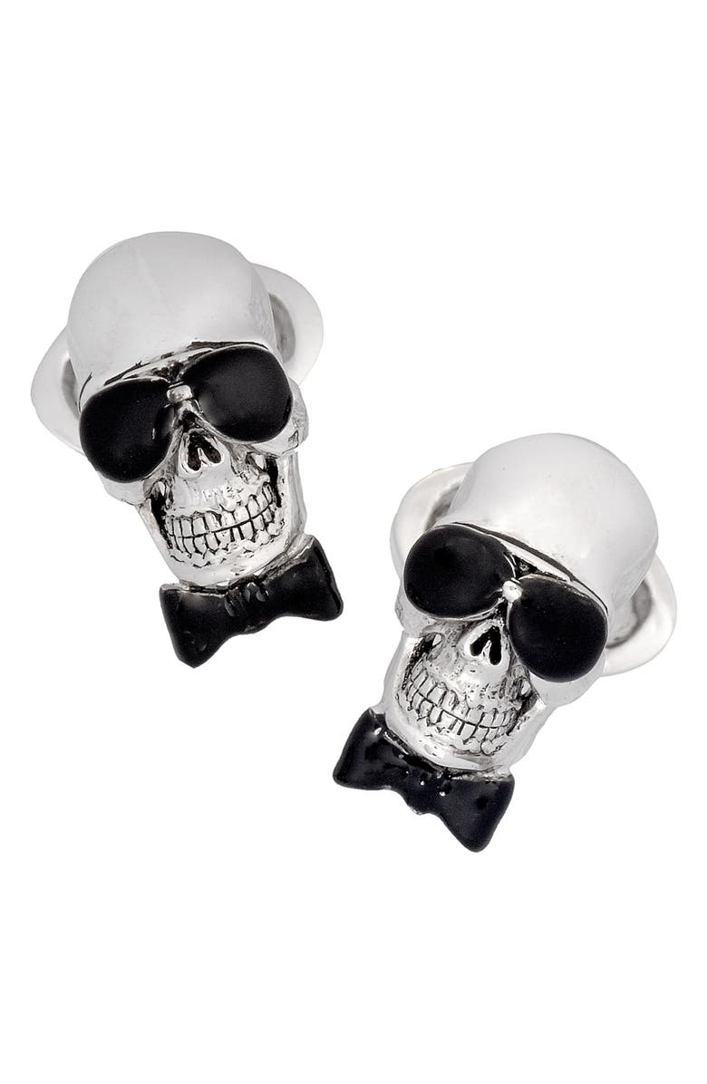 JAN LESLIE Skull With Sunglasses Cuff Links, Main, color, NO COLOR
