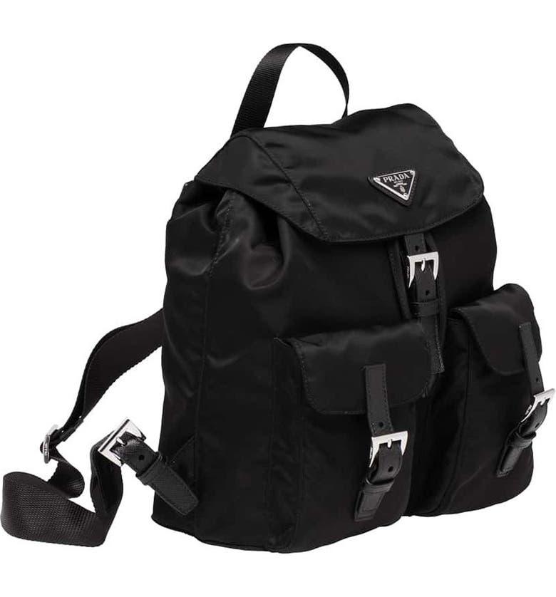 PRADA Medium Nylon Backpack, Main, color, NERO