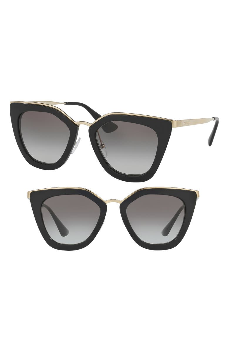 PRADA 52mm Cat Eye Sunglasses, Main, color, BLACK